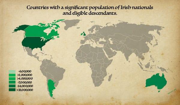 Proud Irish Heritage - Irish Emigration Map