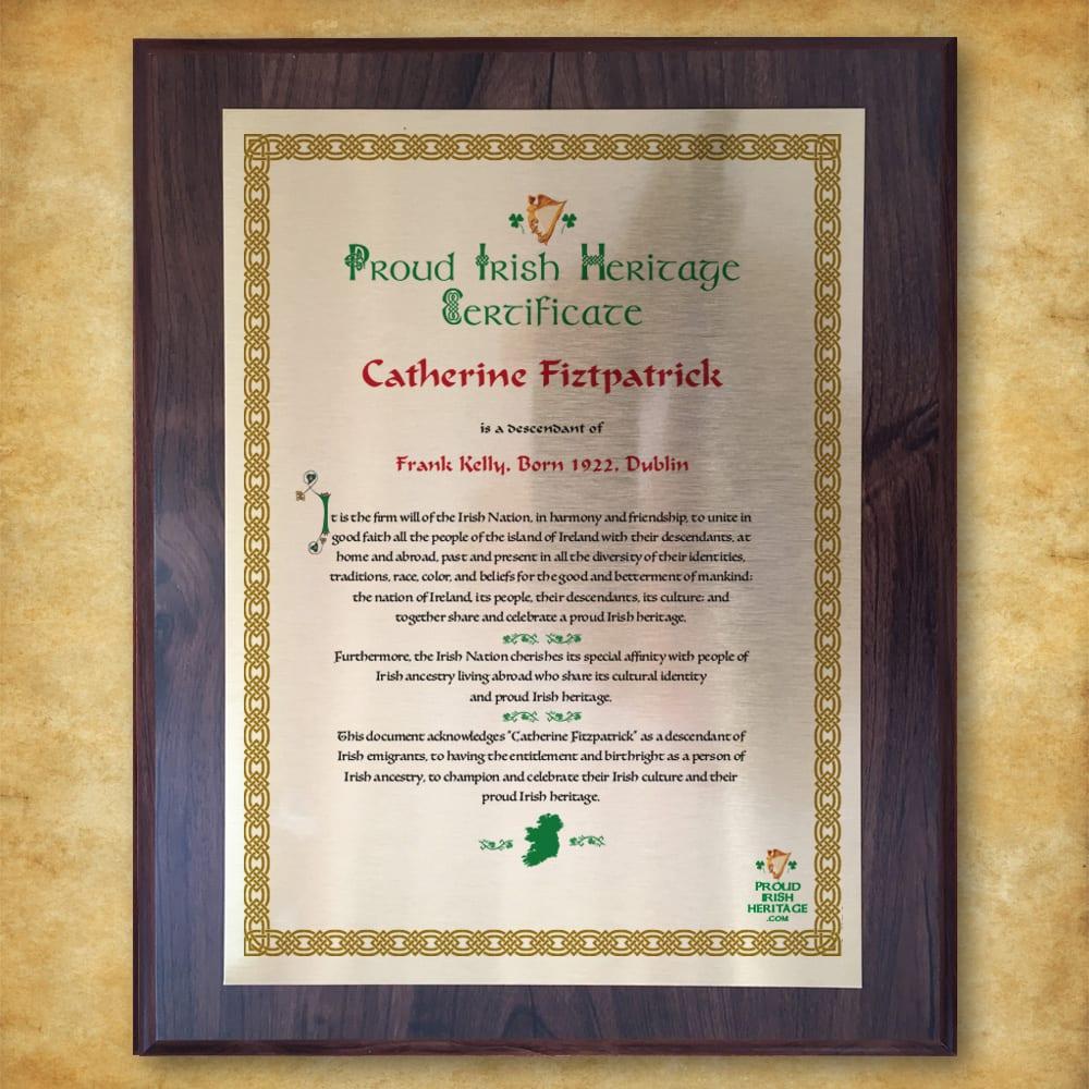 Proud Irish Heritage Plaque Certificate celebrating Irish Ancestors
