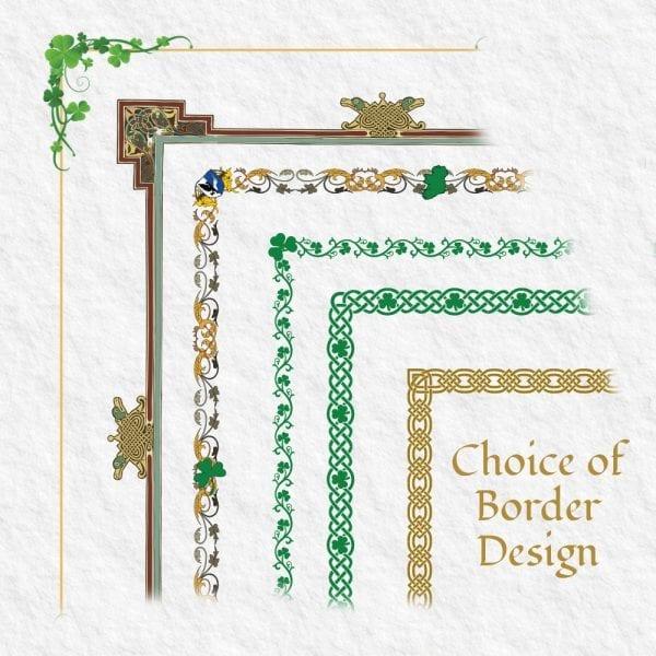 Proud Irish Heritage Certificate - Borders