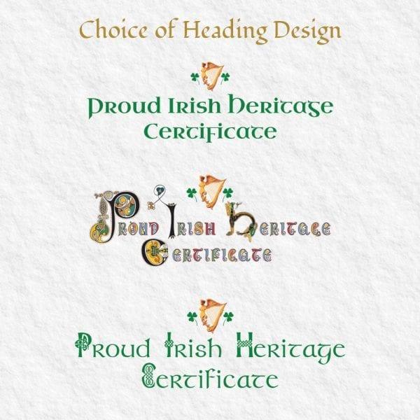 Proud Irish Heritage Certificate - Headings