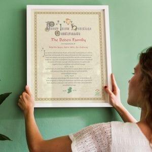 Family Irish Heritage Certificate