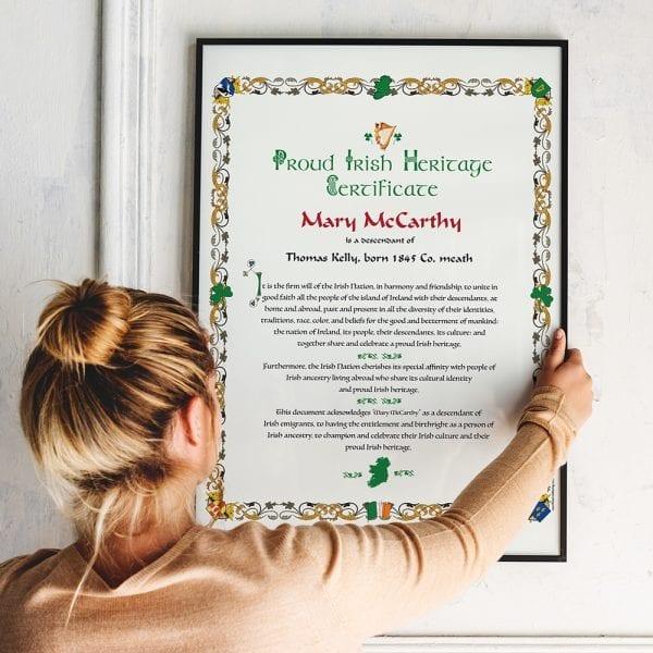 Proud Irish Heritage Certificate