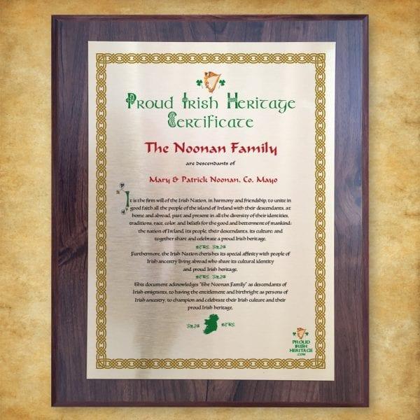 Proud Irish Heritage Plaque Certificate celebrating Culture