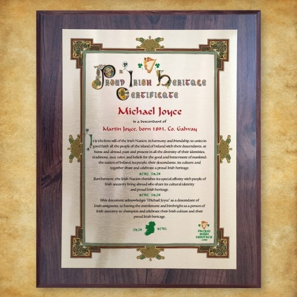 Proud Irish Heritage Plaque Certificate