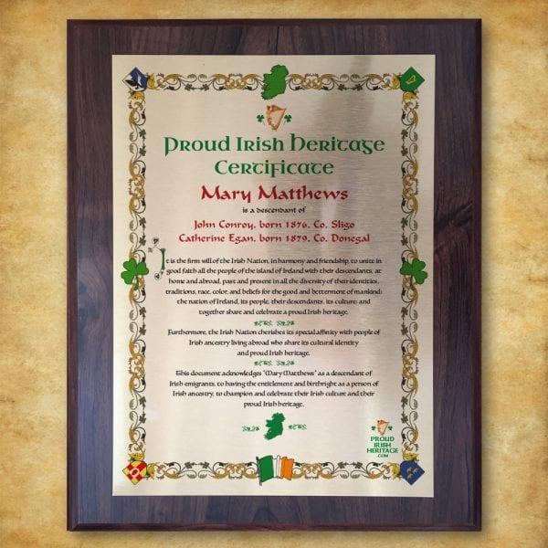Proud Irish Heritage Plaque Certificate celebrating history