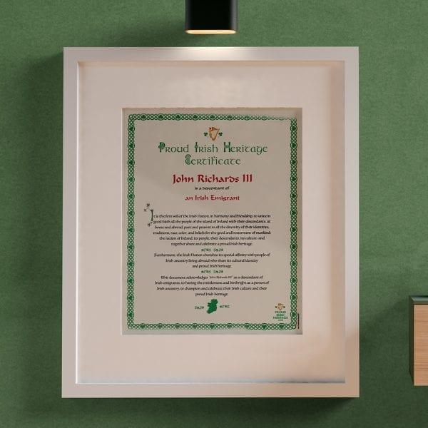 Irish Certificate for your Irish Heritage.