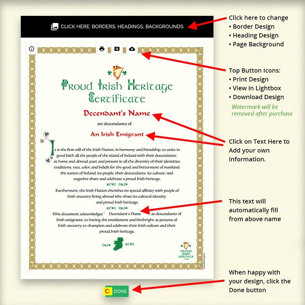 Proud Irish Heritage - Certificate How to fill