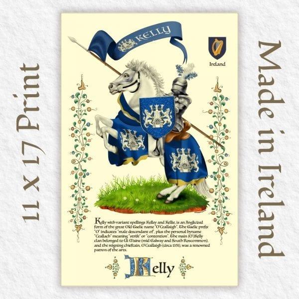 Proud Irish Descendants Family Crest Illustrated Knight Print.