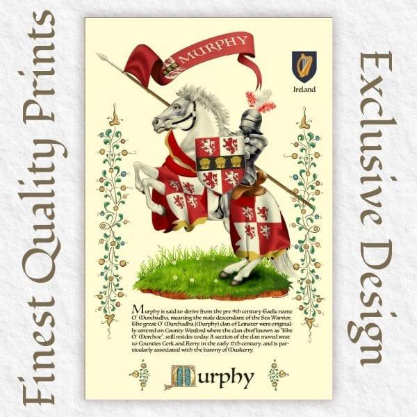 Proud Irish Descendants Family Crest Print.
