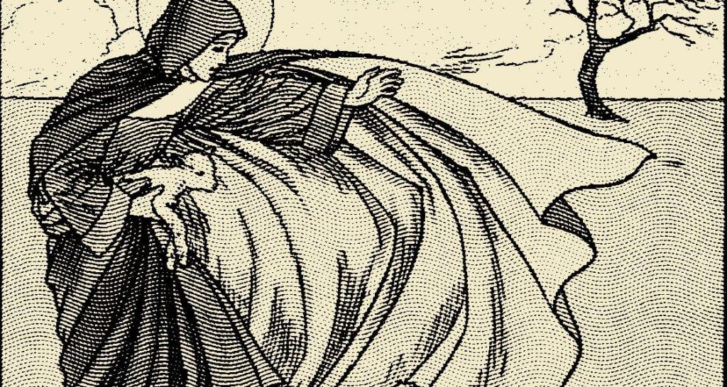 Saint Brigid casts her cloak - The story of St. Brigid of Ireland.