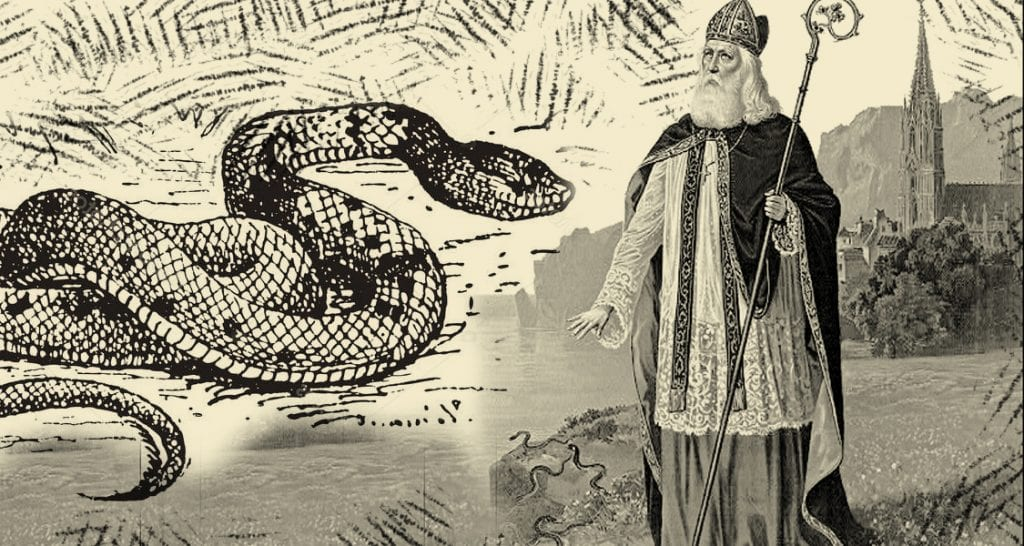 St Patrick and the king of the serpents